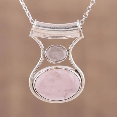 Rose quartz pendant necklace, 'Simply Scintillating' - Rose Quartz and Sterling Silver Modern Pendant Necklace