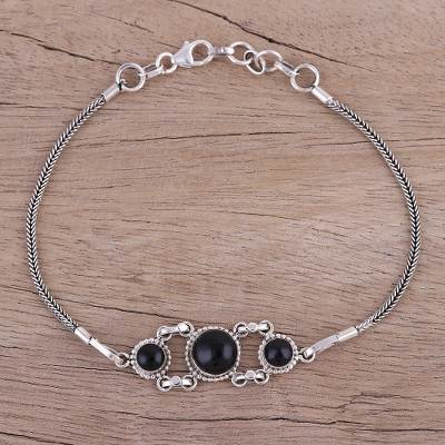 Onyx pendant bracelet, Bridge to Delhi