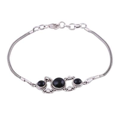 Onyx pendant bracelet, 'Bridge to Delhi' - Onyx Pendant Bracelet with Sterling Silver Foxtail Chain