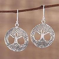 Sterling silver dangle earrings, 'Into the Earth' - Jali Style Sterling Silver Tree Dangle Earrings