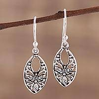 Sterling silver dangle earrings, 'Bygone Flowers' - Leaf and Flower Themed Sterling Silver Dangle Earrings
