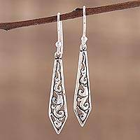 Sterling silver dangle earrings, 'Sword of Delhi' - Dagger Shaped Sterling Silver Dangle Earrings from India