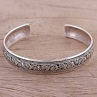 Sterling silver cuff bracelet, 'Delicate Cacophony' - Sterling Silver Filigree Motif Cuff Bracelet from India