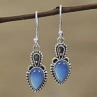 Chalcedony dangle earrings, 'Earthly Crown' - Blue Chalcedony and Sterling Silver Dangle Earrings