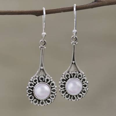 Cultured pearl dangle earrings, 'Inner Radiance' - Cultured Pearl Earrings in Sterling Silver Settings