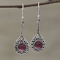 Garnet dangle earrings, 'Inner Radiance' - Hand Crafted Garnet and Sterling Silver Dangle Earrings