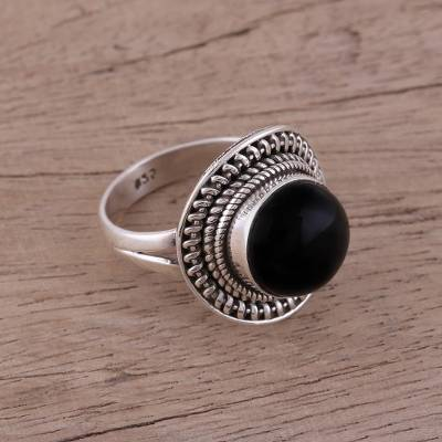 14k turquoise earrings - Handcrafted Sterling Silver and Onyx Cocktail Ring