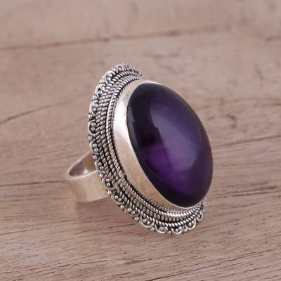 Amethyst cocktail ring, 'Too Marvelous' - Elegant Amethyst Cabochon Cocktail Ring