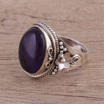 Amethyst cocktail ring, 'Paradise Found' - Amethyst Cabochon Cocktail Ring in Sterling Silver