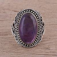 Amethyst cocktail ring, 'Twilight Cascade' - Sterling Silver and Amethyst Cocktail Ring from India