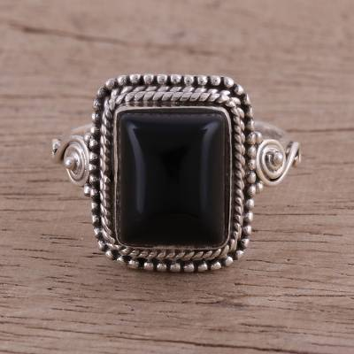 ring setting ideas - Bezel Set Onyx and Sterling Silver Cocktail Ring