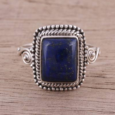 Artisan Crafted Lapis Lazuli Cocktail Ring from India