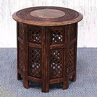 Wood accent table, 'Leisure Time' - Mango Wood Accent Table Inlaid with Brass in a Floral Motif
