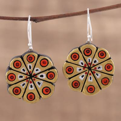 Ceramic dangle earrings, 'Golden Floral Abstraction' - Hand Crafted Ceramic Dangle Earrings from India