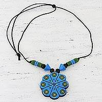 Ceramic pendant necklace, 'Blue Floral Abstraction' - Hand Crafted Ceramic Pendant Necklace from India