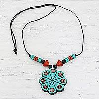 Ceramic pendant necklace, 'Floral Abstraction' - Hand Crafted Ceramic Pendant Necklace from India