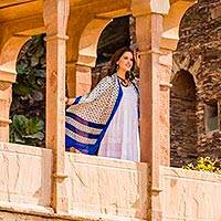 Silk shawl, 'City of Joy Blossoms' - Hand Block Printed Woven Ivory and Blue Floral Silk Shawl