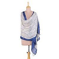 Silk shawl, 'Forest of Bengal' - Handwoven Indigo and Ivory Patterned Indian Silk Shawl