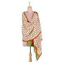 Silk shawl, 'Autumn Leaves' - Hand Woven Block Printed Indian Silk Shawl Autumn Leaves