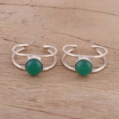 Onyx toe rings, 'Green Light' (pair) - Artisan Crafted Silver Toe Rings with Green Onyx (Pair)