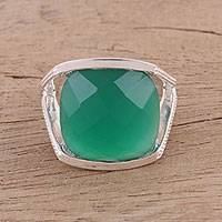 Onyx cocktail ring, 'Verdant Depths' - Faceted Green Onyx Cocktail Ring in Sterling Silver