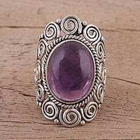 Amethyst cocktail ring, 'Twilight Reverie' - Amethyst Cabochon Cocktail Ring in Sterling Silver