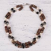 Unakite and cultured pearl strand necklace, 'Terra Firma' - Unakite and Cultured Pearl Necklace with Smoky Quartz