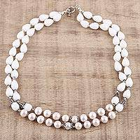 Agate and cultured pearl beaded strand necklace, 'Heavenly Harmony' - White Agate and Cream Cultured Pearl 2 Strand Necklace