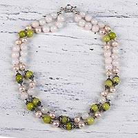 Multi-gemstone beaded necklace, 'Palatial Shimmer' - Multi-Gemstone Beaded Necklace from India