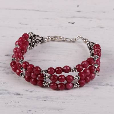 Aventurine beaded bracelet, 'Elegant Trinity in Cerise' - Hand Crafted Cerise Aventurine Beaded Bracelet from India