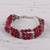 Aventurine beaded bracelet, 'Elegant Trinity in Cerise' - Hand Crafted Cerise Aventurine Beaded Bracelet from India thumbail