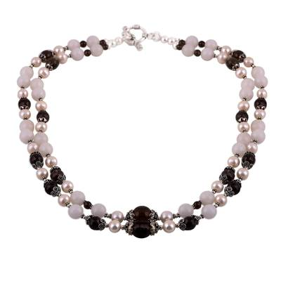 925 Sterling Silver Gemstone and Cultured Pearl Necklace