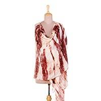 Tie-dyed cotton shawl, 'Bordeaux Bliss' - Tie Dyed Cotton Shawl in Bordeaux and Eggshell Made in India