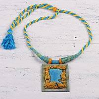 Ceramic pendant necklace, 'Birdsong' - Handcrafted Ceramic Blue and Gold Bird Frame Necklace
