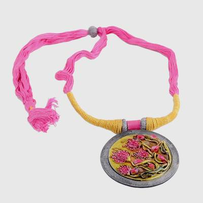 Floral Ceramic and Cotton Pendant Necklace from India