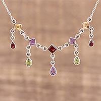 Multi-gemstone pendant necklace, 'Prismatic Allure' (India)