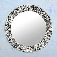 Glass mosaic wall mirror, 'Onyx Glare' - Hand Crafted Silver and Black Mosaic Tile Round Wall Mirror