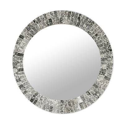 Hand Crafted Silver and Black Mosaic Tile Round Wall Mirror