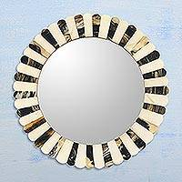 Horn and bone wall mirror, 'Buffalo Reflection' - Handmade Bone Buffalo Horn Round Mirror from Indian