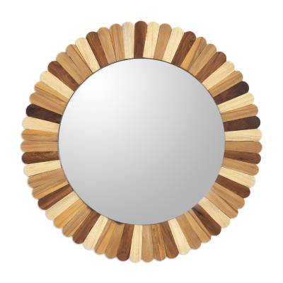 Artisan Crafted Round Mango Wood Wall Mirror from India