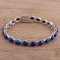 Lapis lazuli tennis bracelet, 'Royal Tranquility' (India)