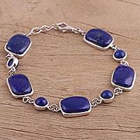Lapis lazuli link bracelet, 'Oceanic Elegance' (India)