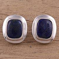 Lapis lazuli button earrings, 'Celestial Framing' - Lapis Lazuli Rhodium Plated Sterling Silver Button Earrings