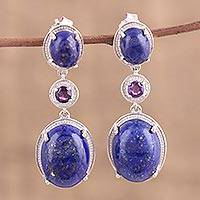 Rhodium plated lapis lazuli and amethyst dangle earrings,