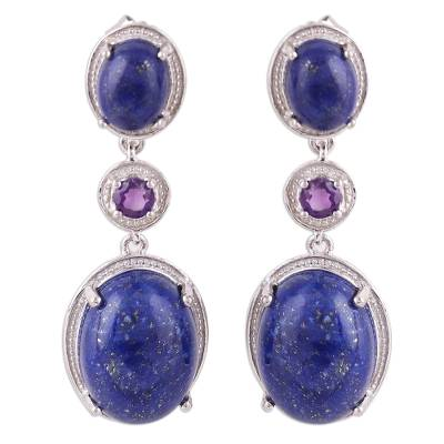 Lapis Lazuli and Amethyst Sterling Silver Dangle Earrings