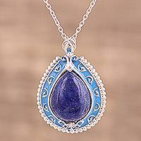 Rhodium plated lapis lazuli pendant necklace, 'Majestic Splendor' - Lapis Lazuli Sterling Silver Pendant Necklace from India