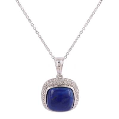 Lapis Lazuli and Topaz Pendant Necklace from India