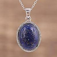 Lapis lazuli pendant necklace, 'Shimmering Twilight' - Lapis Lazuli Sterling Silver Pendant Necklace from India