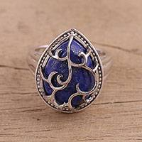 Lapis lazuli cocktail ring, 'Grand Majesty' - Lapis Lazuli Handcrafted Rhodium Plate Sterling silver Ring