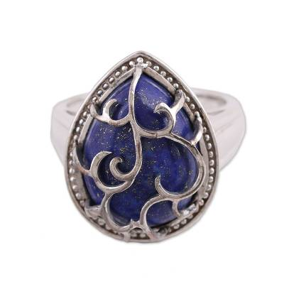 Sterling and Lapis Lazuli Cocktail Ring from India